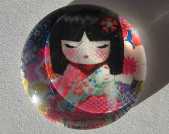 Glass cabochon round 20 mm with the image of Chinese girl coral blue green
