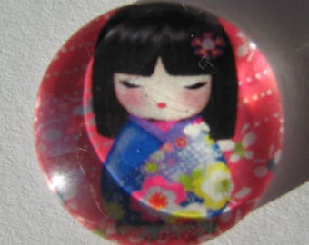 Glass cabochon round 20 mm with small Chinese red blue image