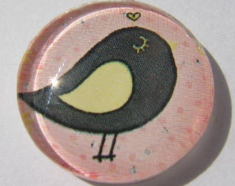 Cabochon 20 mm round domed with its pink and black bird image
