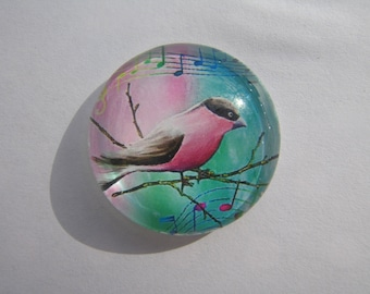 Nice glass cabochon round 30 mm with a Blue Bird image