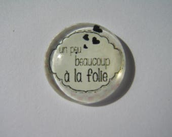 """Cabochon 25 mm with the Scripture """"a bit, much to madness"""" Angels collection"""