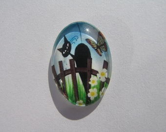 Black Glass cabochon oval 25 X 18 mm with his cat image