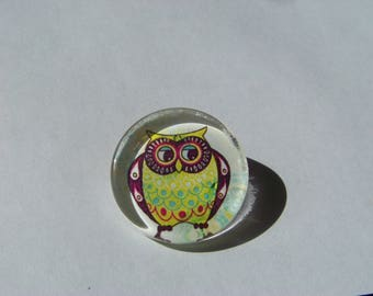 Cabochon 25 mm round and flat with owl image
