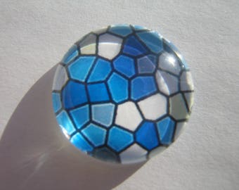 With its blue and white mosaic print image 25 mm cabochon