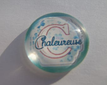 Cabochon 25 mm round domed with its warm blue gradient with written image