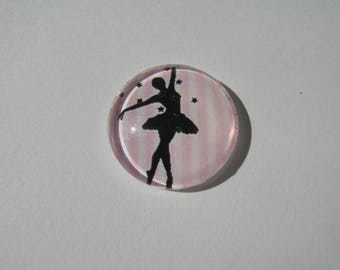 Cabochon 18 mm with a strip pattern