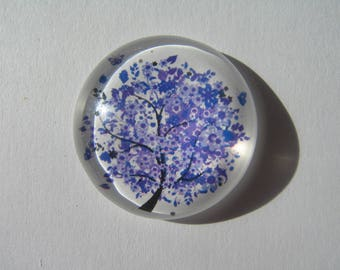 large cabochon 30 mm round with a purple tree image