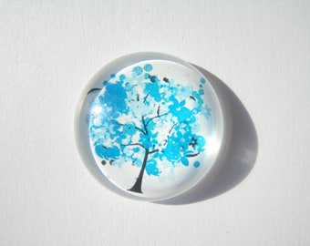large cabochon 30 mm round with a blue tree image