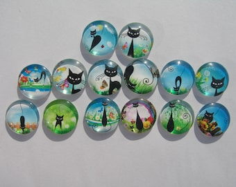 Set of 14 glass cabochons round 20 mm with their assorted images of cats and blue sky