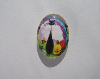 Black Glass cabochon oval 25 X 18 mm with his cat image and Rainbow