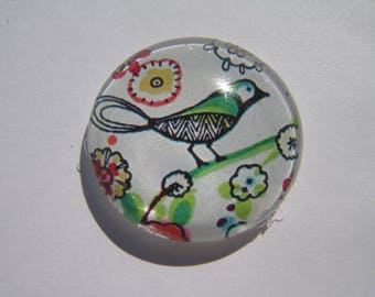 Cabochon 30 mm round domed with a bird image