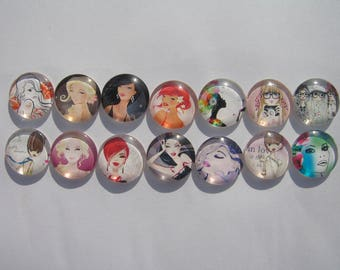 Set of 14 glass cabochons round 20 mm with their assorted images of women