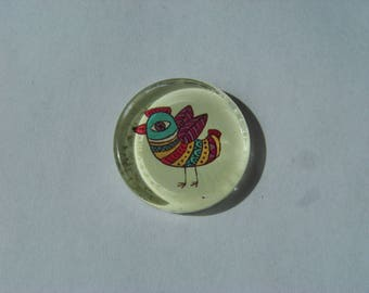 Cabochon 25 mm round and flat with bird image