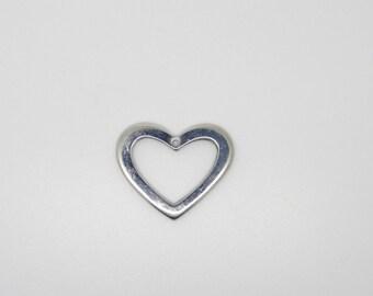 Charm, heart pendant, silver, metal