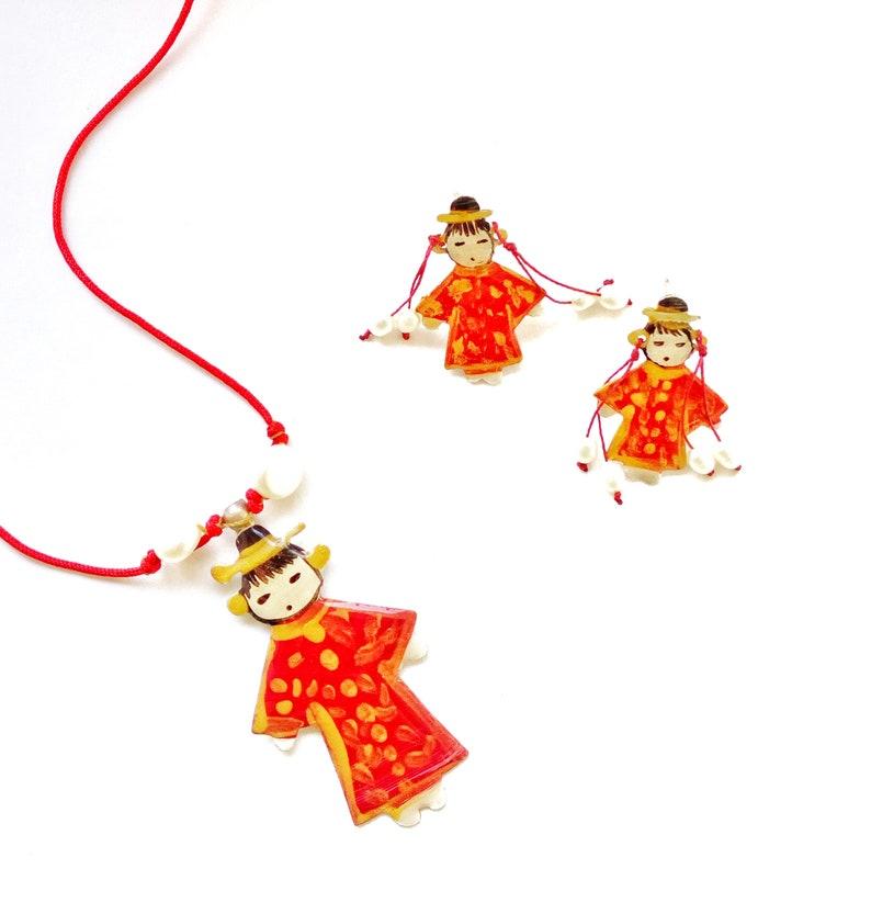 Sterling Silver Cute Stud Earrings Japanese Kimono Doll Earrings