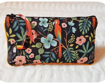 Cotton, bird, tropical, small glasses cases clutch cosmetic makeup, keys, card, organizer, Christmas gift for woman