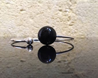 "Silver ring ""Bohemian Ensorcelee"" semiprecious Black Onyx and sterling"