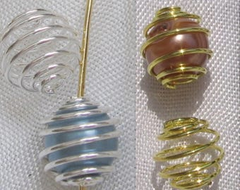 10 cages beads 8mm gold tone or silver 8mmx9mm 8 x 9 choice * A43 * O8