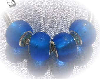 4 Bleu Azur Donuts Argente Charms Givré Verre Perles 14x8mm Metal b7fyIYgmv6