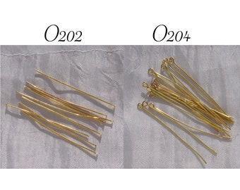 Golden nails, 60-stem lot, flat head, buckle, eye, golden stems, 7cm stems, 70mm stems, 70mm nails, 70x0.7mm, nickel-free, O202,O204