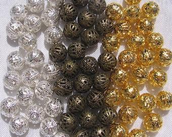 50 beads to choose 8mm filigree metal balls nickel silver colours gold gilt bronze: * 8 * J122 * O26