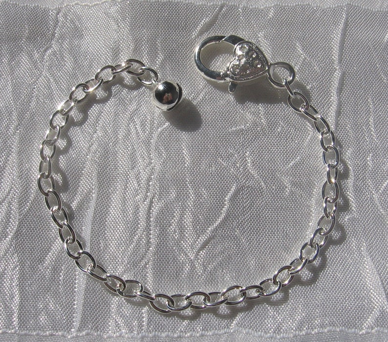 silver bell silver chain bracelet with musket Silver bracelet 20cm bracelet C78 silver metal musket clasp