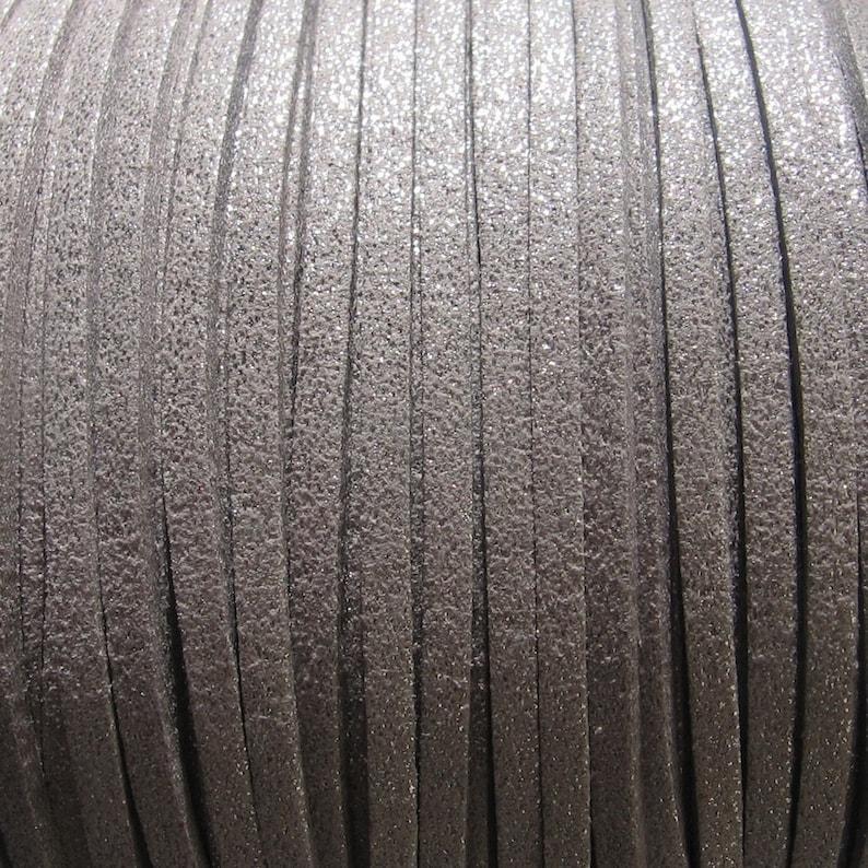 3mm grey wire leather grey Suedette yarn set of 3 meters 3x1mm grey suedette C125 suedette cord C70 glitter grey C179 3mm suedette
