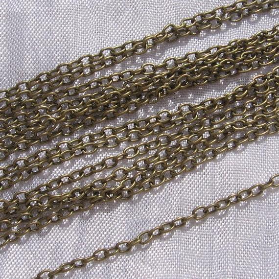 LOT de 2M 2 METRES CHAINES chainettes GOURMETTE 3 x 2 x 0,5mm DOREES perles