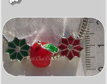 LOT MIX of 3 METAL CHARMS beads silver enamel Apple BLOSSOMS green & red * H185