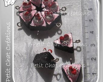 2 pendants with rings strawberries & cream chocolate mousse cake charms * B358