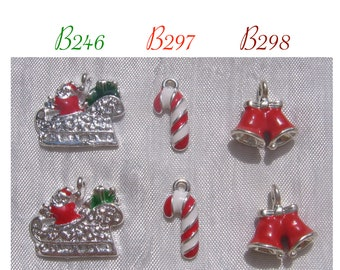 Christmas charms, batch of 2 charms, sugar cane, silver charms, sleds, Christmas, red bells, Christmas bells, B246,B297,B298