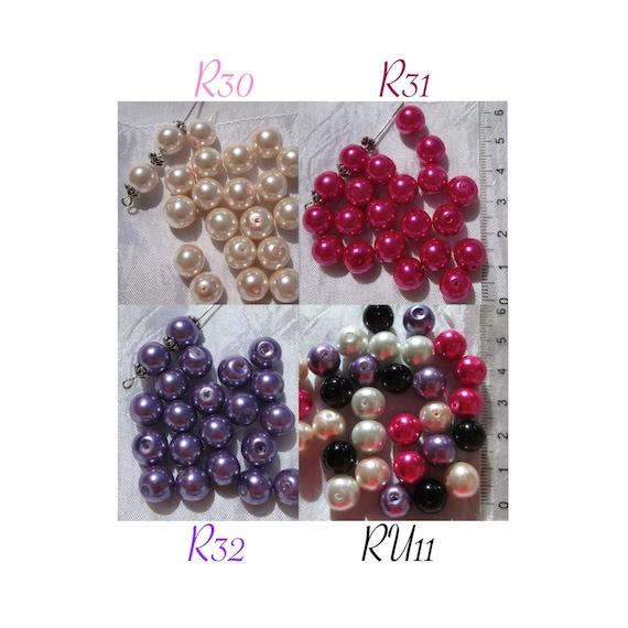 50 perles Nacrées 6mm Lilas verre de Bohème