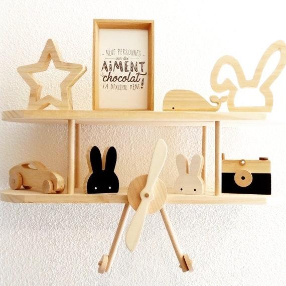 Étagère avion en bois brut, décoration murale style scandinave, décoration  chambre bébé et enfant, fabrication artisanale 100% fait main