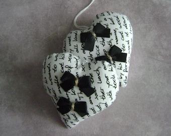 Fabric hanging hearts