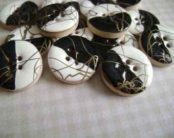 Black and white design wooden buttons