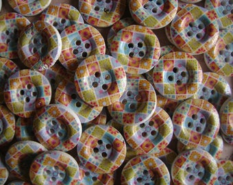 Colorful patterned wooden buttons