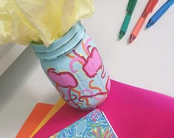 Custom Painted Mason Jar Lilly Pulitzer Inspired  Jellies be Jammin  Print 53e2a23c0a06