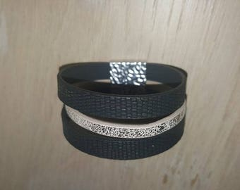 design leather cuff bracelet black gold and gold for women