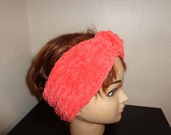 HEADBAND knitted in wool velvet orange
