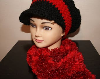 SCARF FROUFROU RED WITH SHINY GOLDEN BEADS