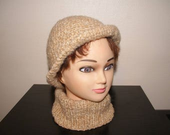 ECRU WITH BERET AND MATCHING SNOOD VINTAGE CLOCHE HAT