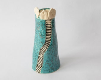 Vase in ceramic, turquoise blue enamel, winding stairs and houses