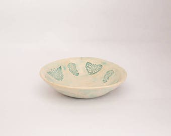 Ceramic Cup, soft green, with prints of butterflies and thoughts,