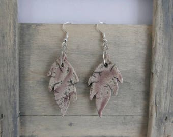 Raku purple color leaf shape earrings