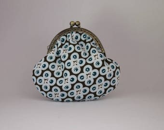 Retro purse cotton printed round Brown turquoise