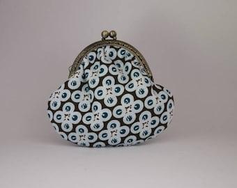 Retro purse cotton printed round Brown turquoise
