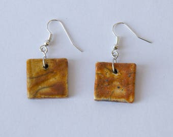 Earrings raku orange shape square