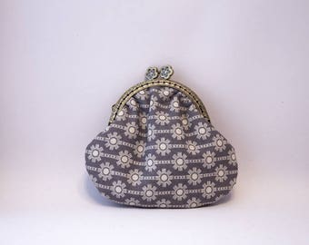 purse retro gray fabric printed designs with lobster clasp