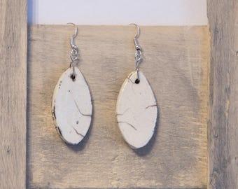 Raku oval shape for pierced earrings