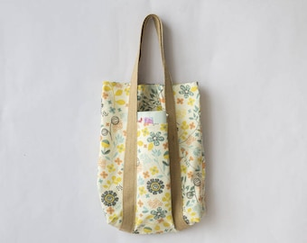 Beach bag cotton thick floral print, burlap handles, front pocket